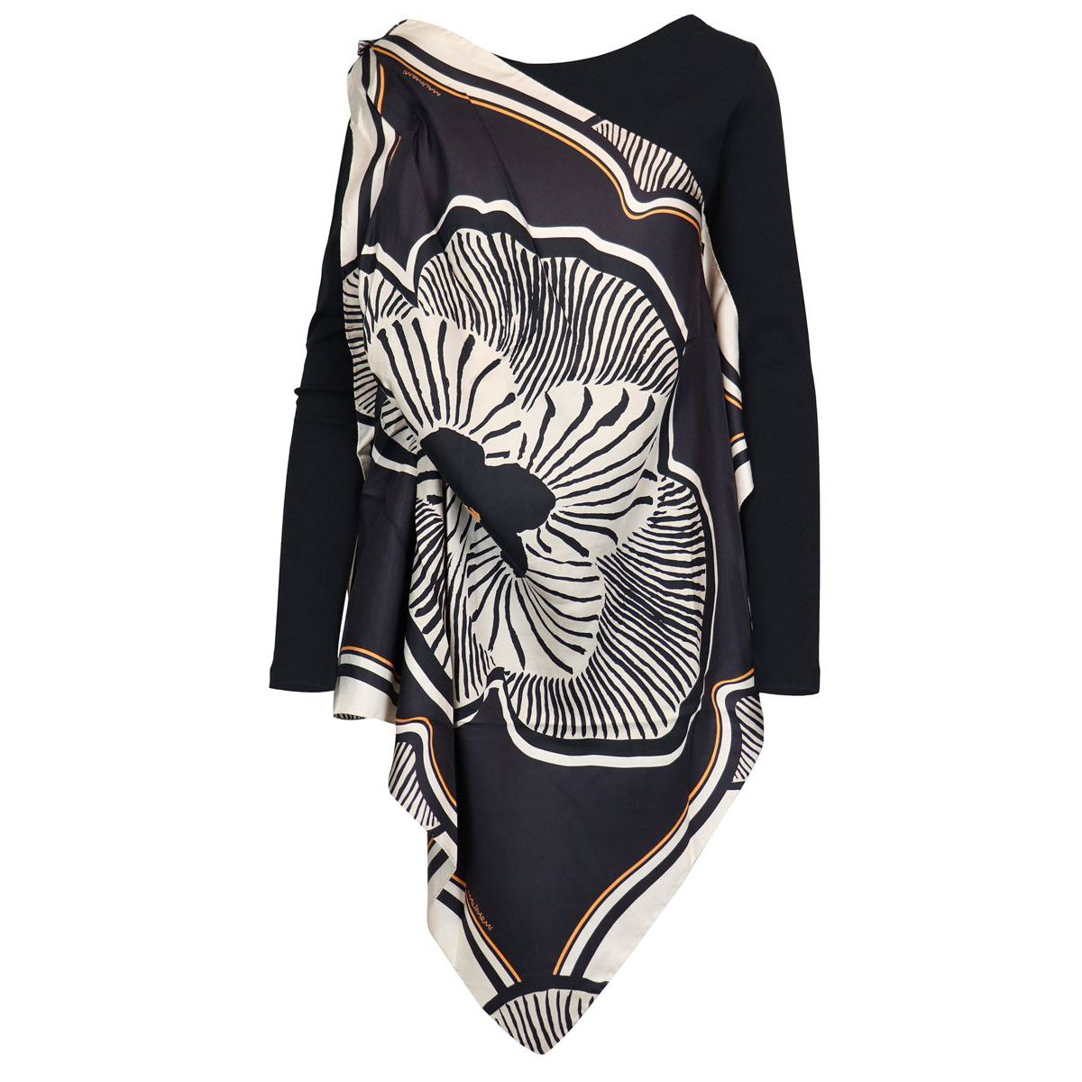 Asymmetric long sweater in cotton with draping and floral print Beige / black Maliparmi