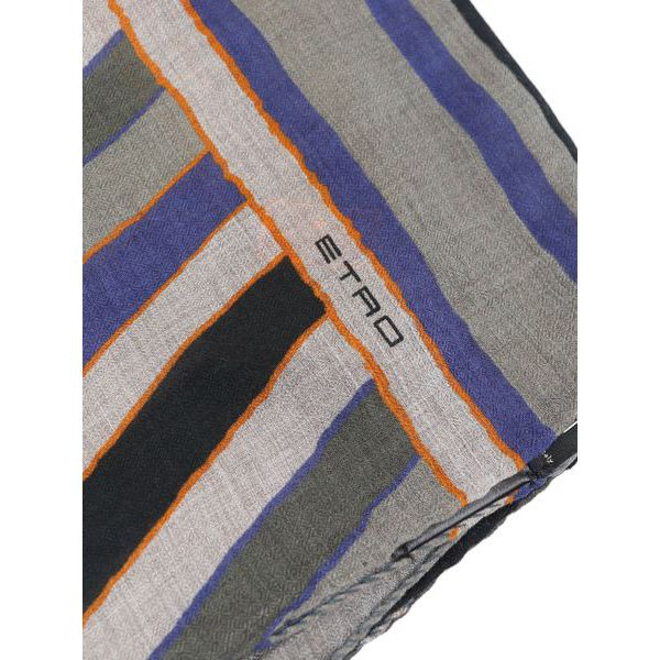 Mixed modal and wool scarf with mulricolor print Grey Etro