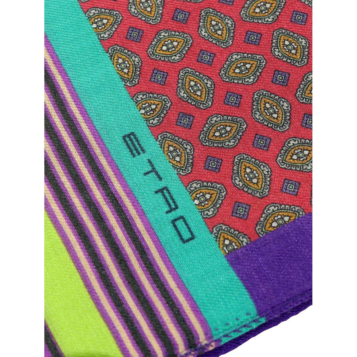 Mixed wool and silk scarf with multicolor print Blue Etro