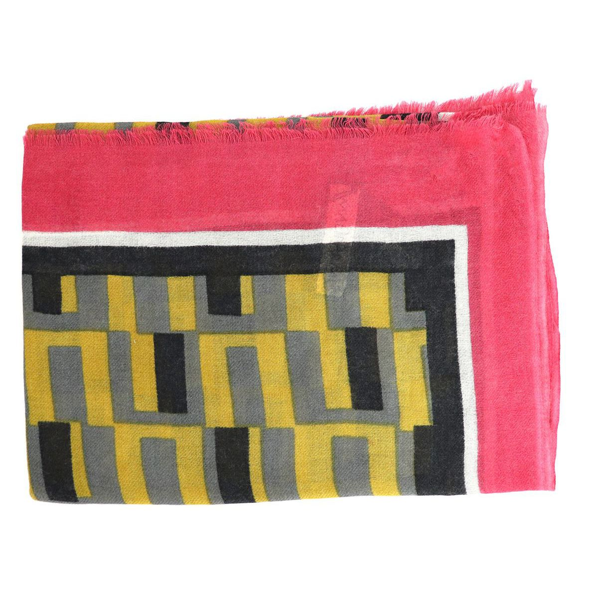 Wool scarf with multicolor pattern Pink mustard Maliparmi