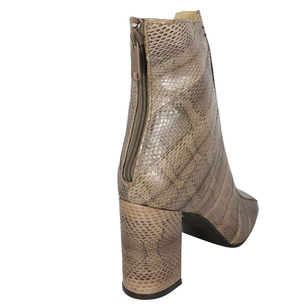 Ankle boot in animal print leather with heel Beige Maliparmi