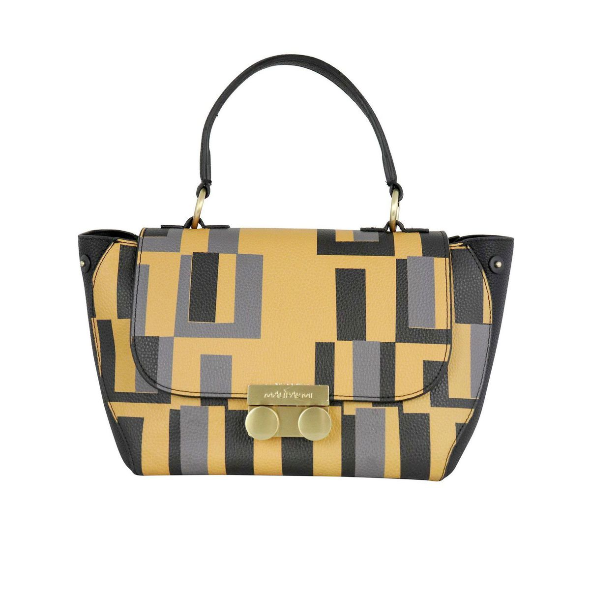 Medium Grainy Printed Handbag Mustard Maliparmi