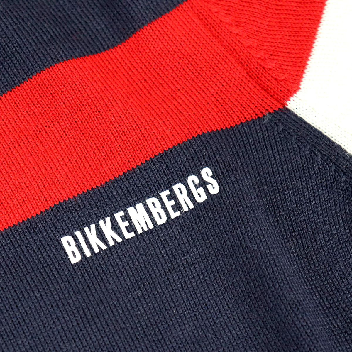 Wool blend pullover with logo and contrasting stripes Blue Bikkembergs