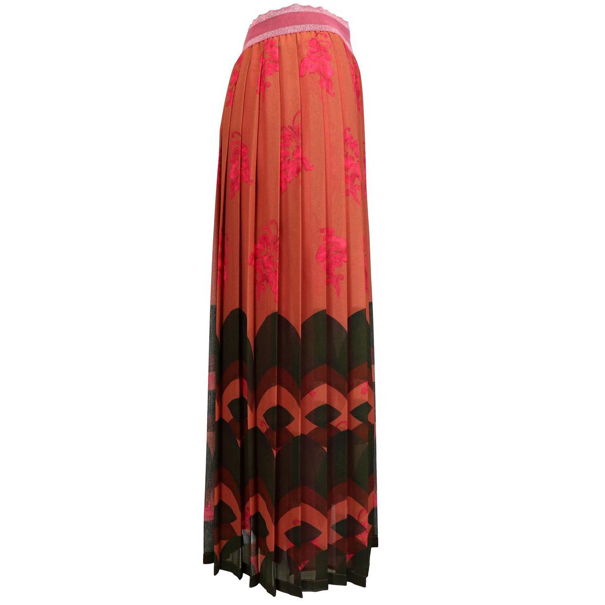 Pleated skirt in fancy silk georgette Orange / strawberry Maliparmi
