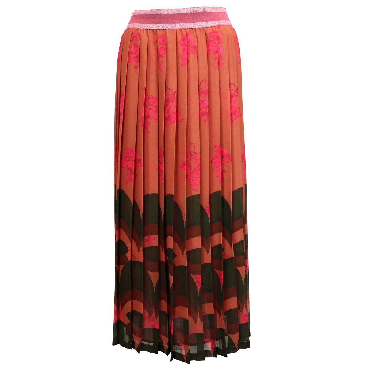 Pleated skirt in fancy silk georgette Orange / strawberry Maliparmi