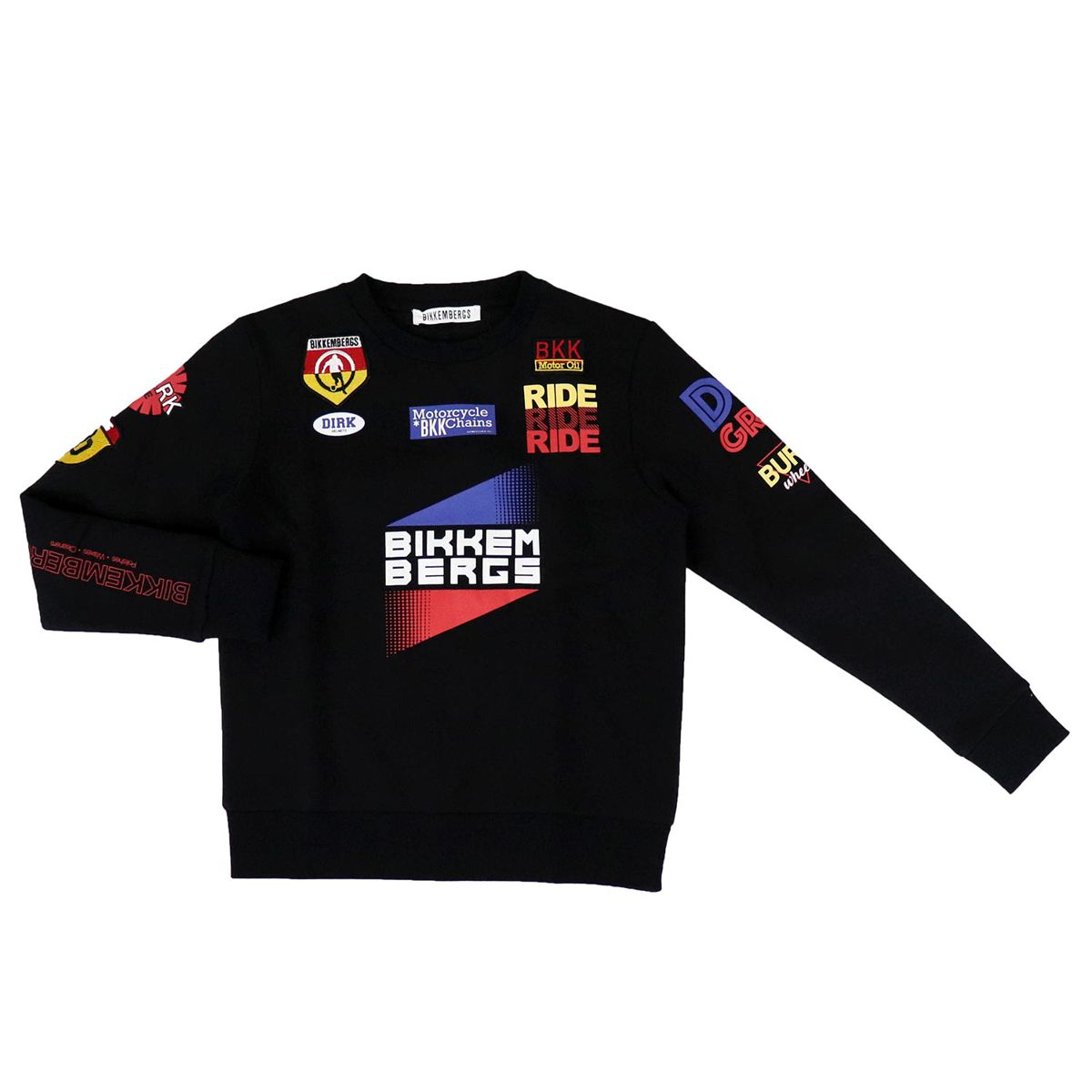 Cotton crew neck sweater with multi prints Black Bikkembergs