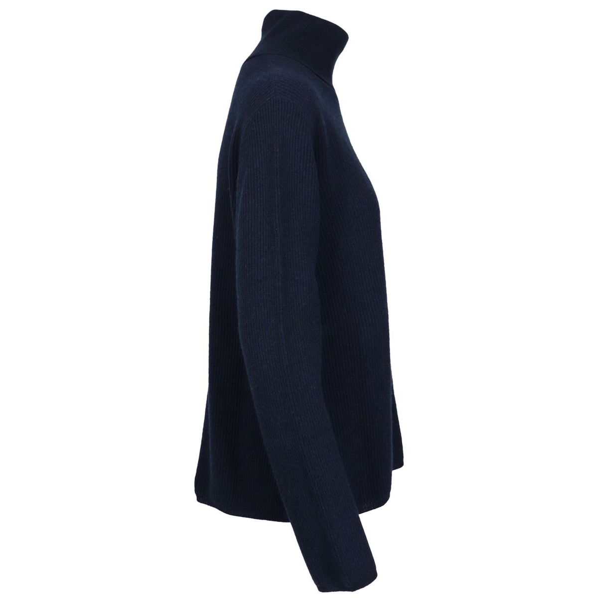Turtleneck sweater in wool and cashmere ribbed blend Night blue Max Mara