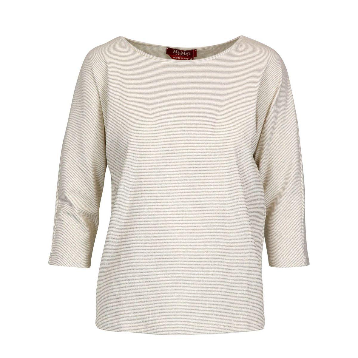 Cotton blend crew neck sweater with lurex stripes Cream / gold Max Mara