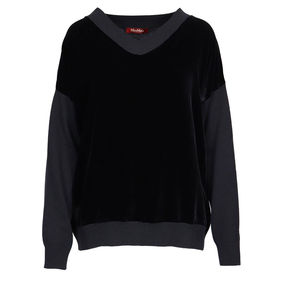 Wool and cashmere blend sweater with ribbed profiles Black Max Mara