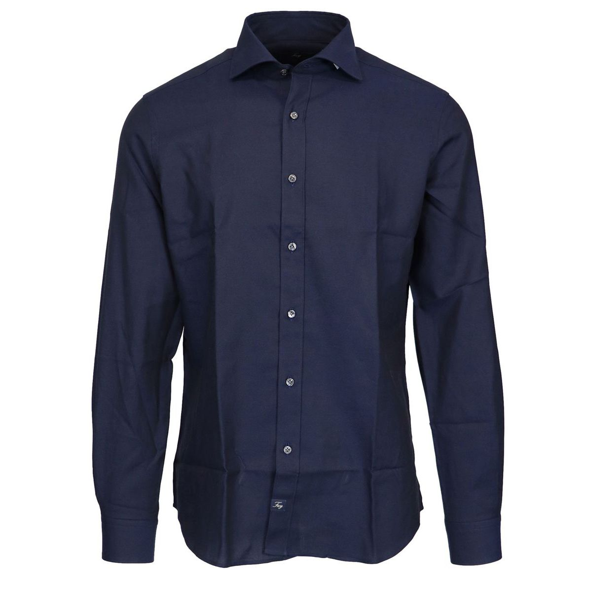 Slim cotton shirt with French collar Navy Fay