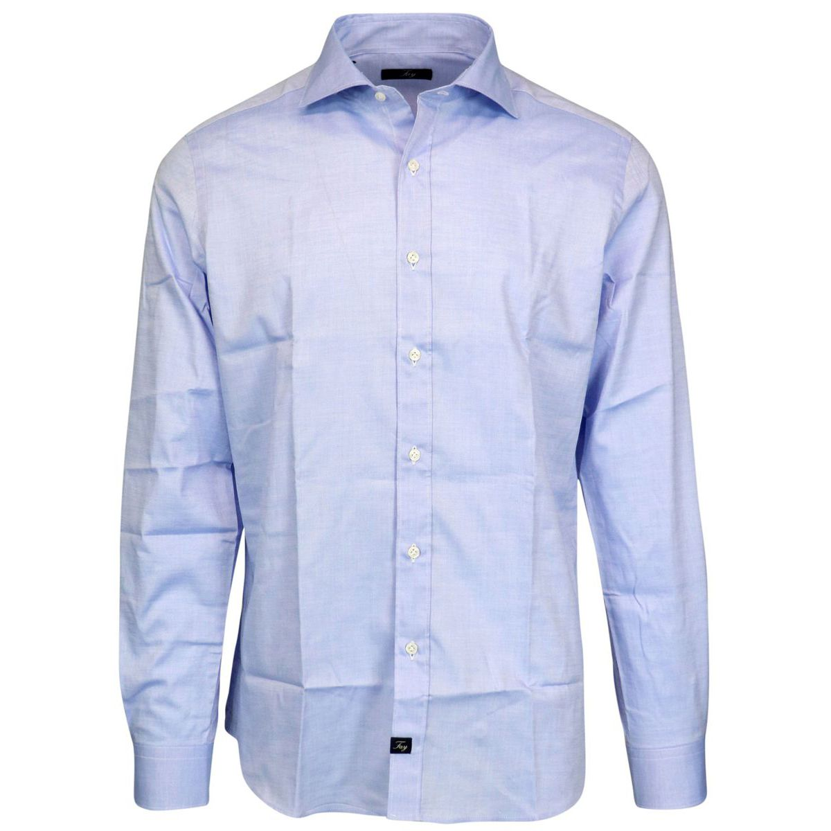 Slim cotton shirt with French collar Light blue Fay