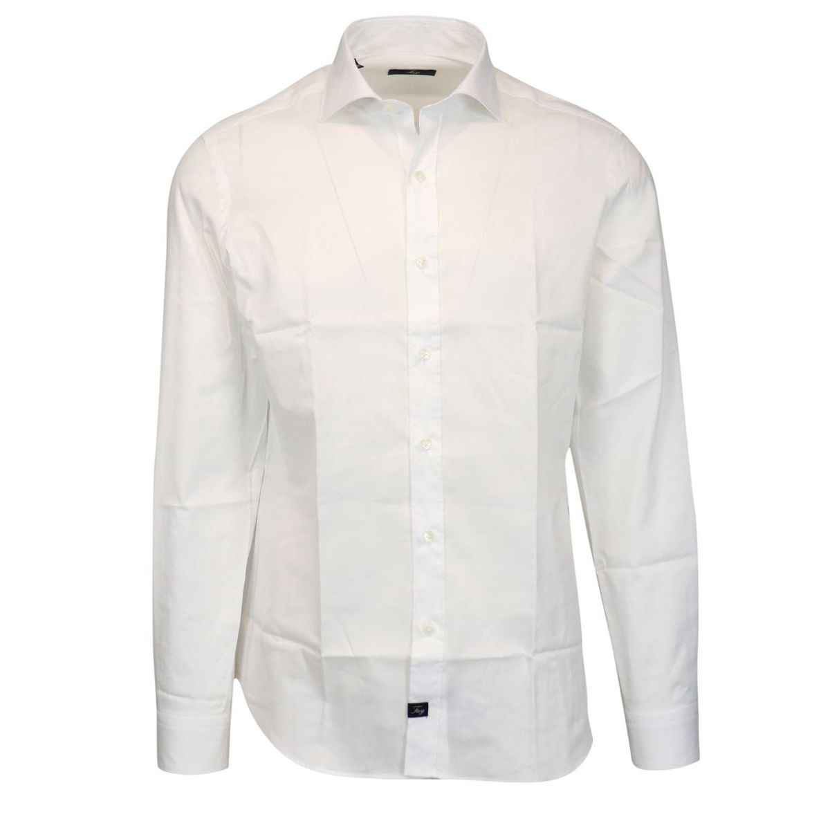 Slim cotton shirt with French collar White Fay