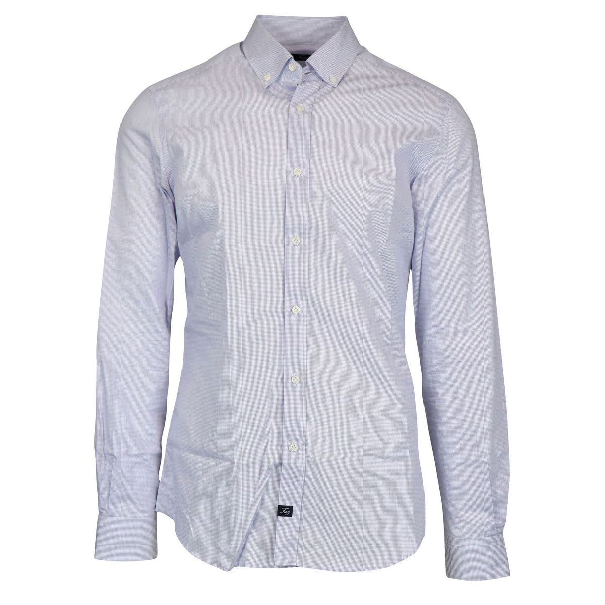 Slim button down cotton shirt Light blue Fay
