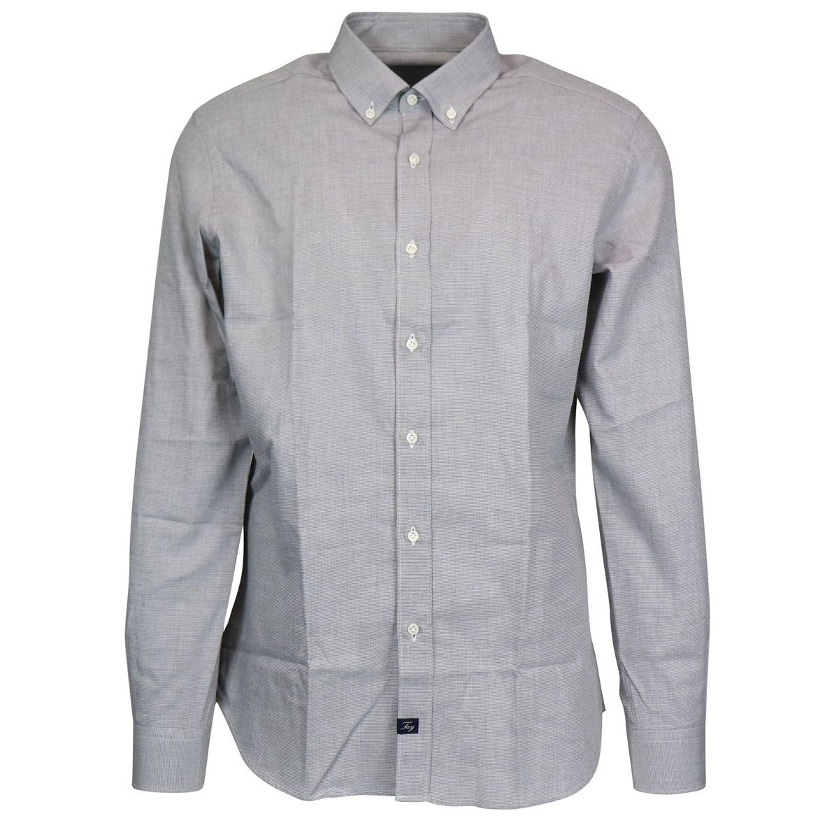 Slim button down shirt in cotton Grey Fay