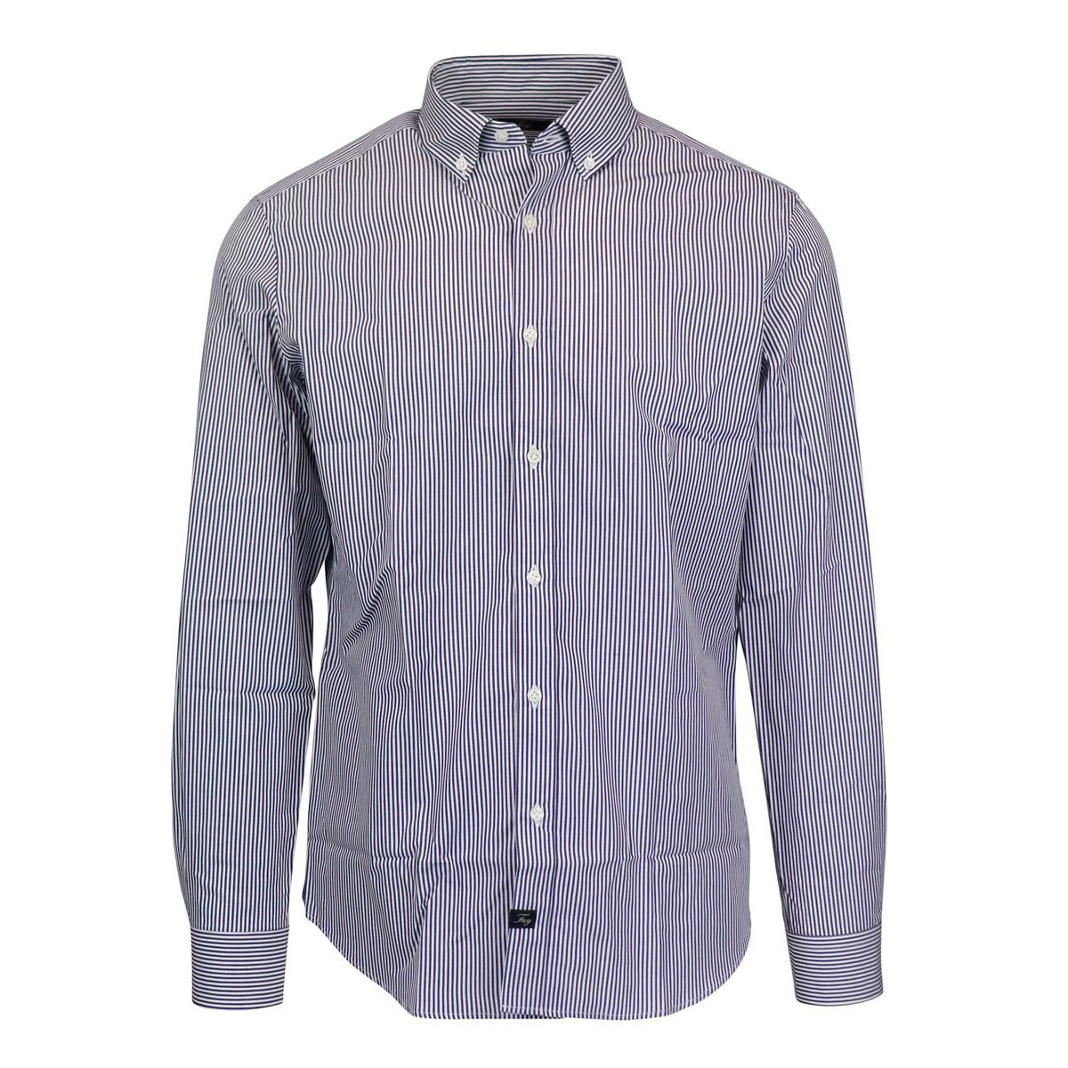 Slim striped button down cotton shirt Royal Fay