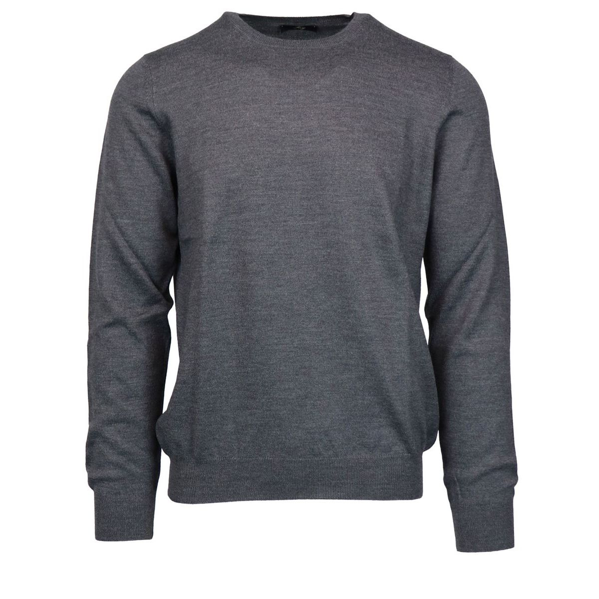 Crewneck sweater in pure wool with micro-ribbed edges Anthracite Fay