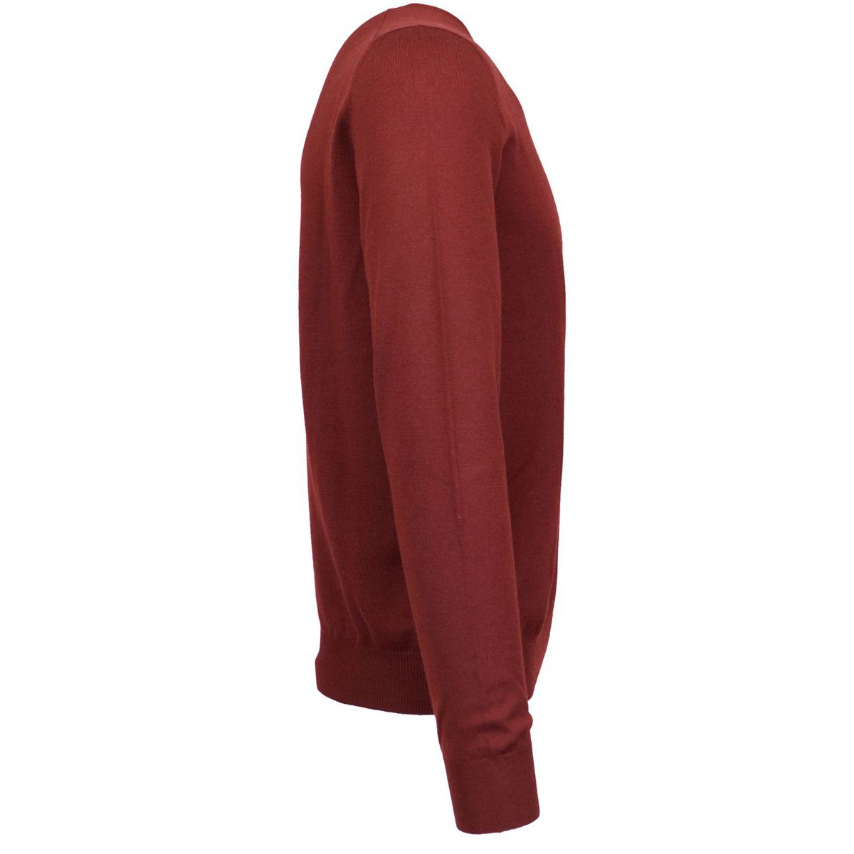 Crewneck sweater in pure wool with micro-ribbed edges Bordeaux Fay