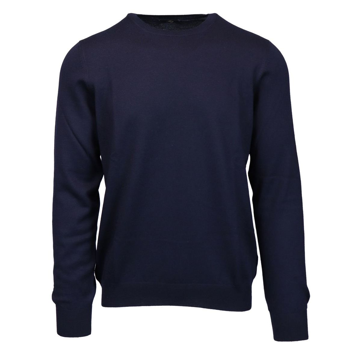 Crewneck sweater in pure wool with micro-ribbed edges Navy Fay