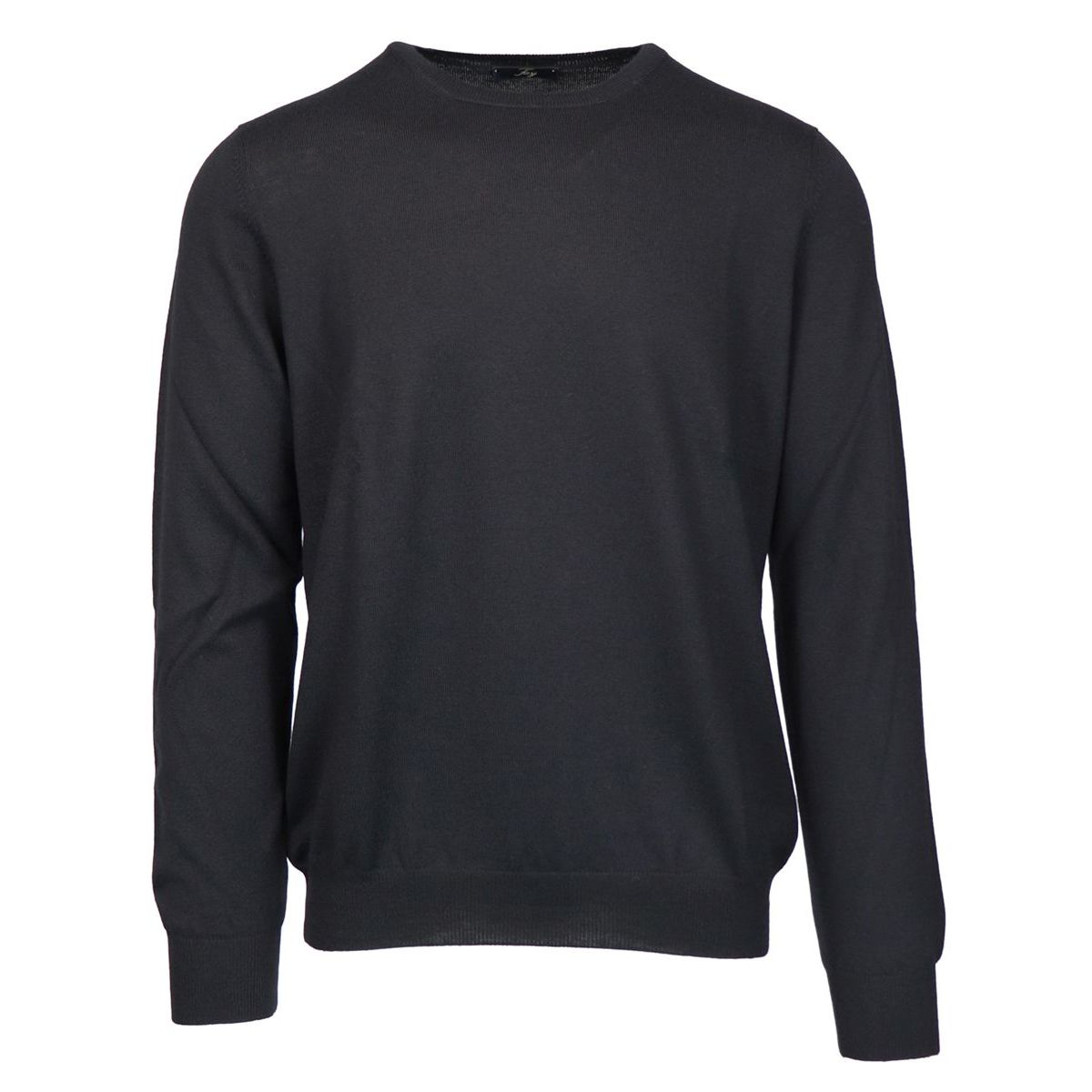 Crewneck sweater in pure wool with micro-ribbed edges Black Fay