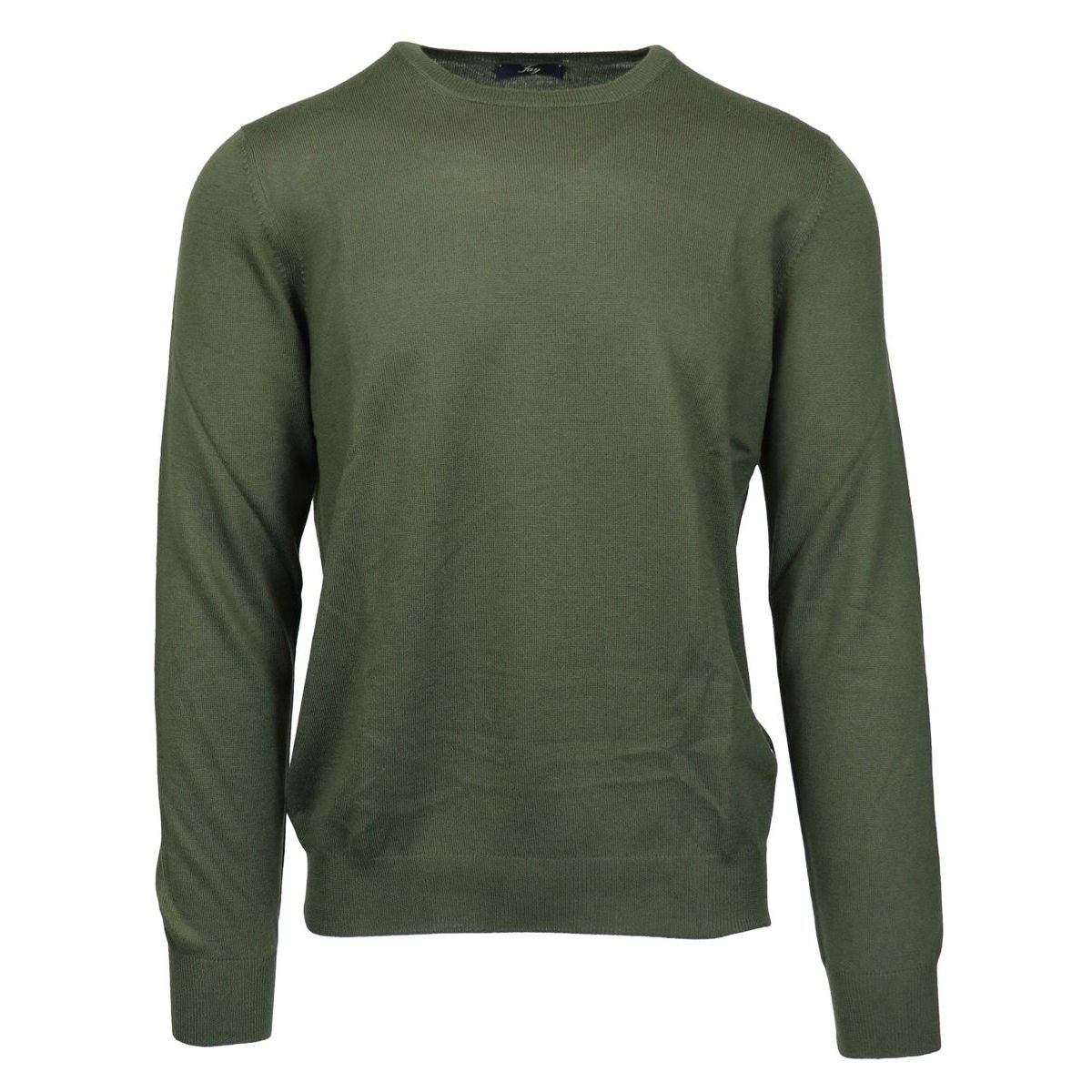Crewneck sweater in pure wool with micro-ribbed edges Green Fay