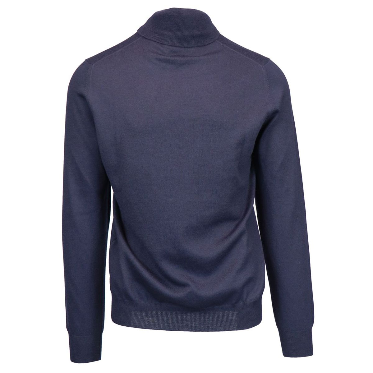 Turtleneck in virgin wool and ribbed profiles Navy Fay
