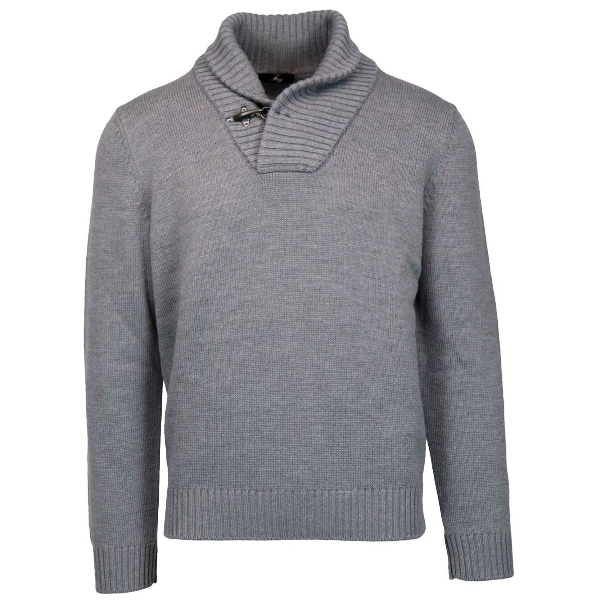 Wool sweater with shawl collar and hook Grey Fay