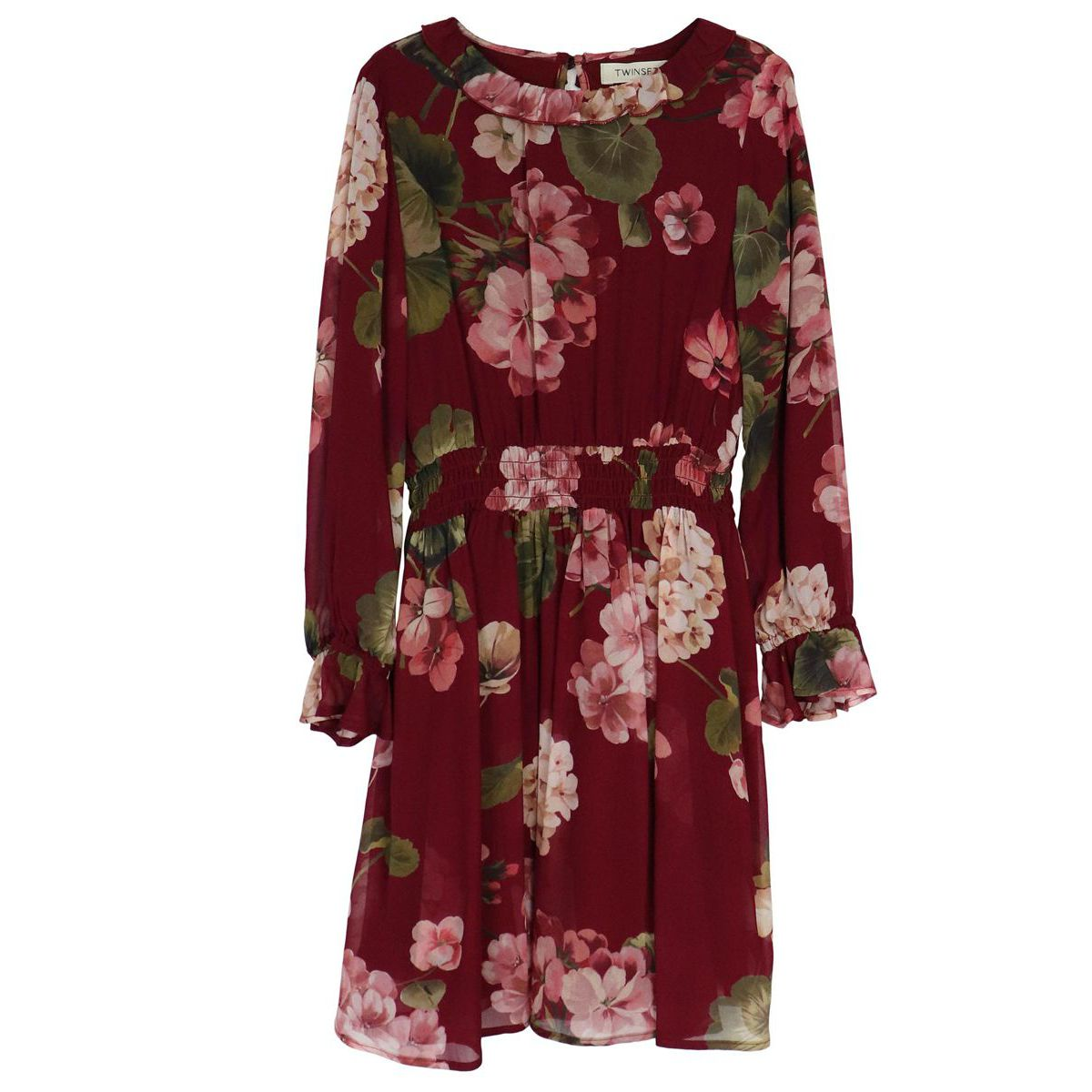 Georgette dress with flower print and micro flounces Bordeaux Twin-Set