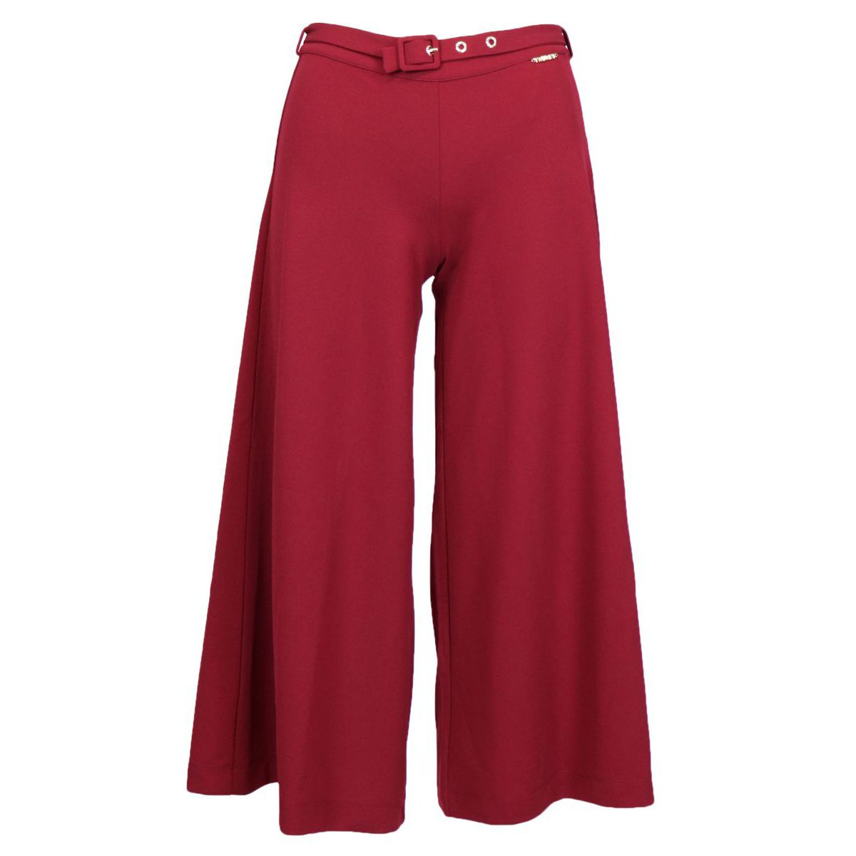 Palazzo pants in Milan stitch with belt Bordeaux Twin-Set