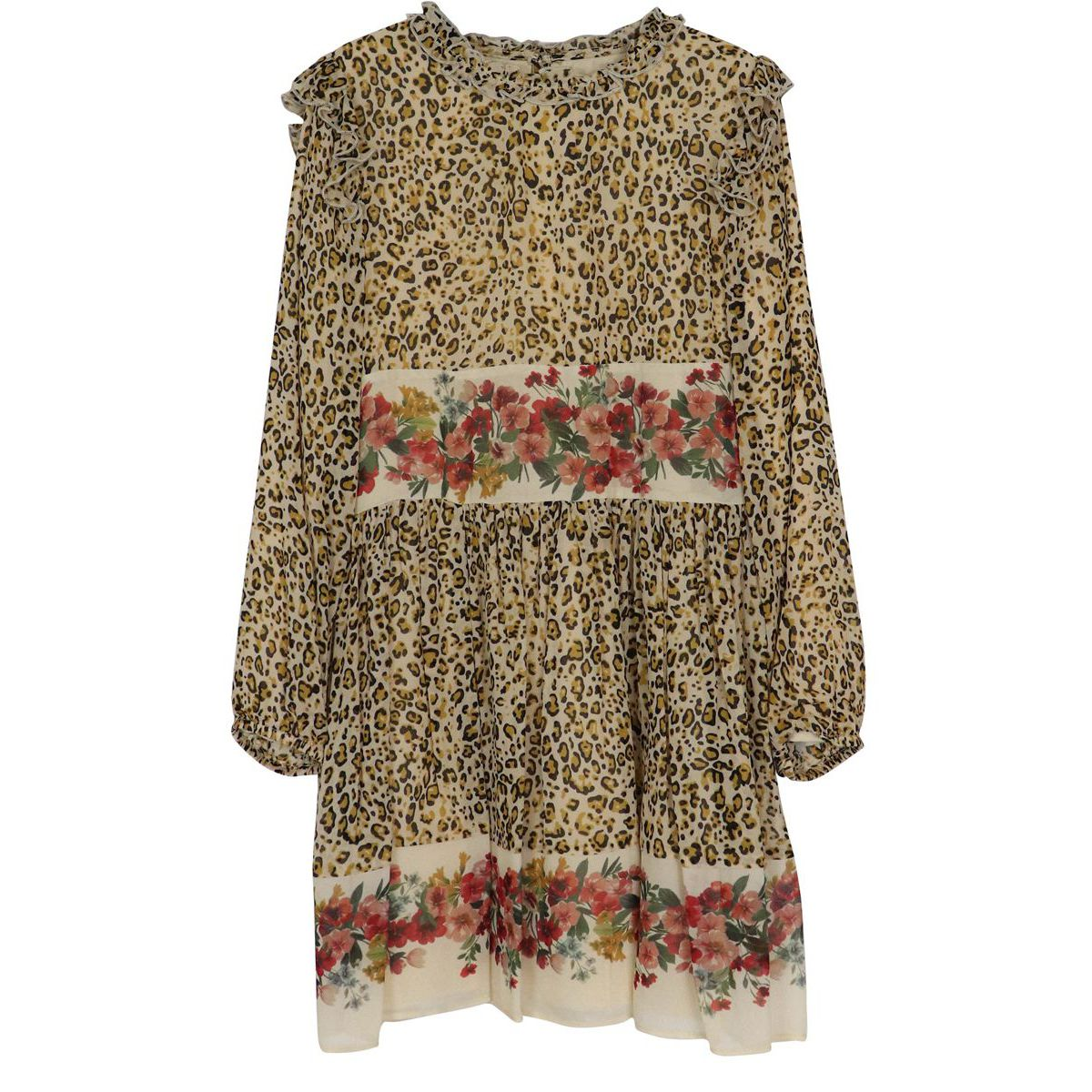 Georgette dress with animal print and flower bands Animal print Twin-Set