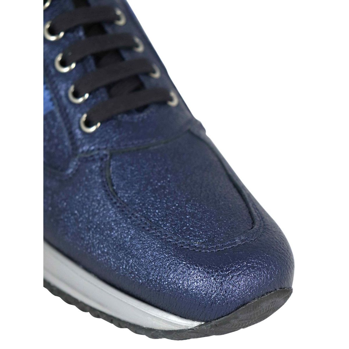 Interactive sneakers in laminated leather with H paillettes Ink Hogan