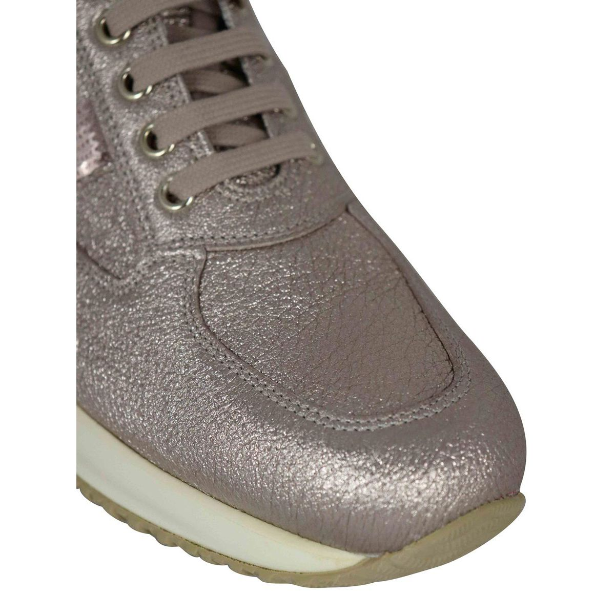 Interactive sneakers in laminated leather with H paillettes Pink gold Hogan