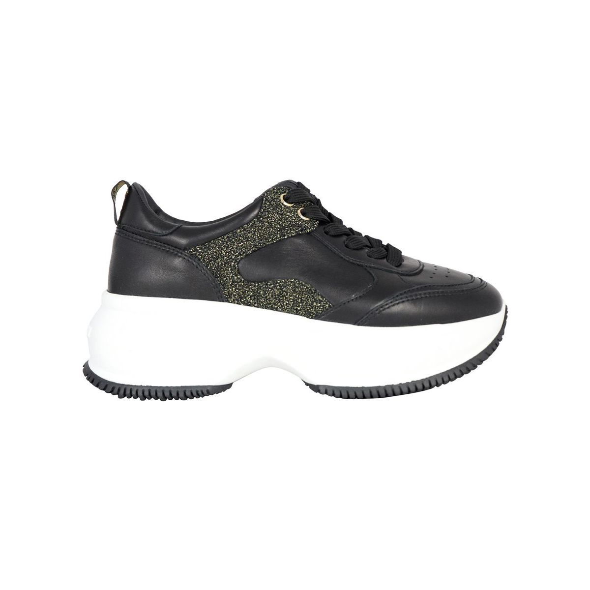 One Maxi Active sneakers in leather with lurex inserts Black Hogan