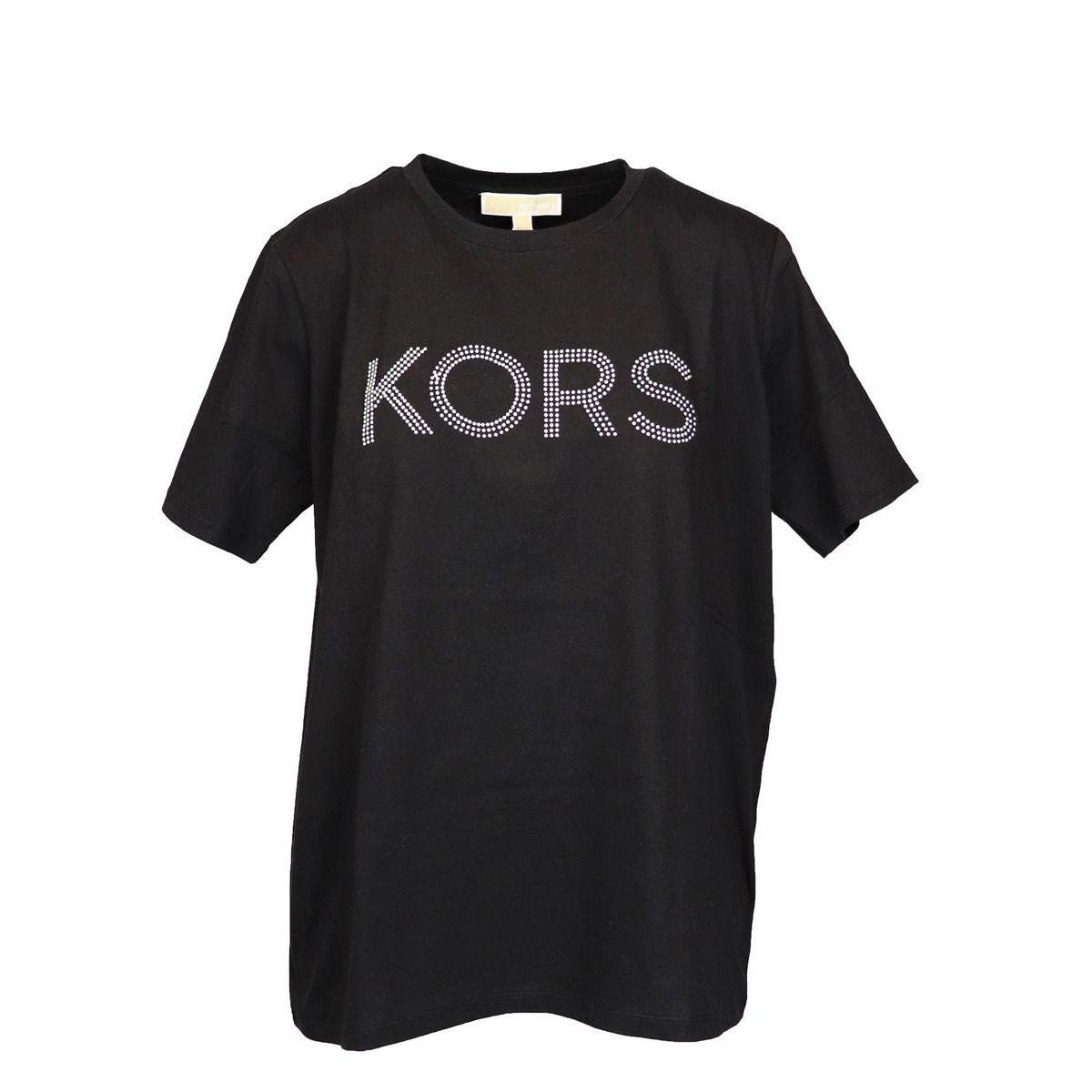 Crewneck cotton t-shirt with contrast logo Black Michael Kors