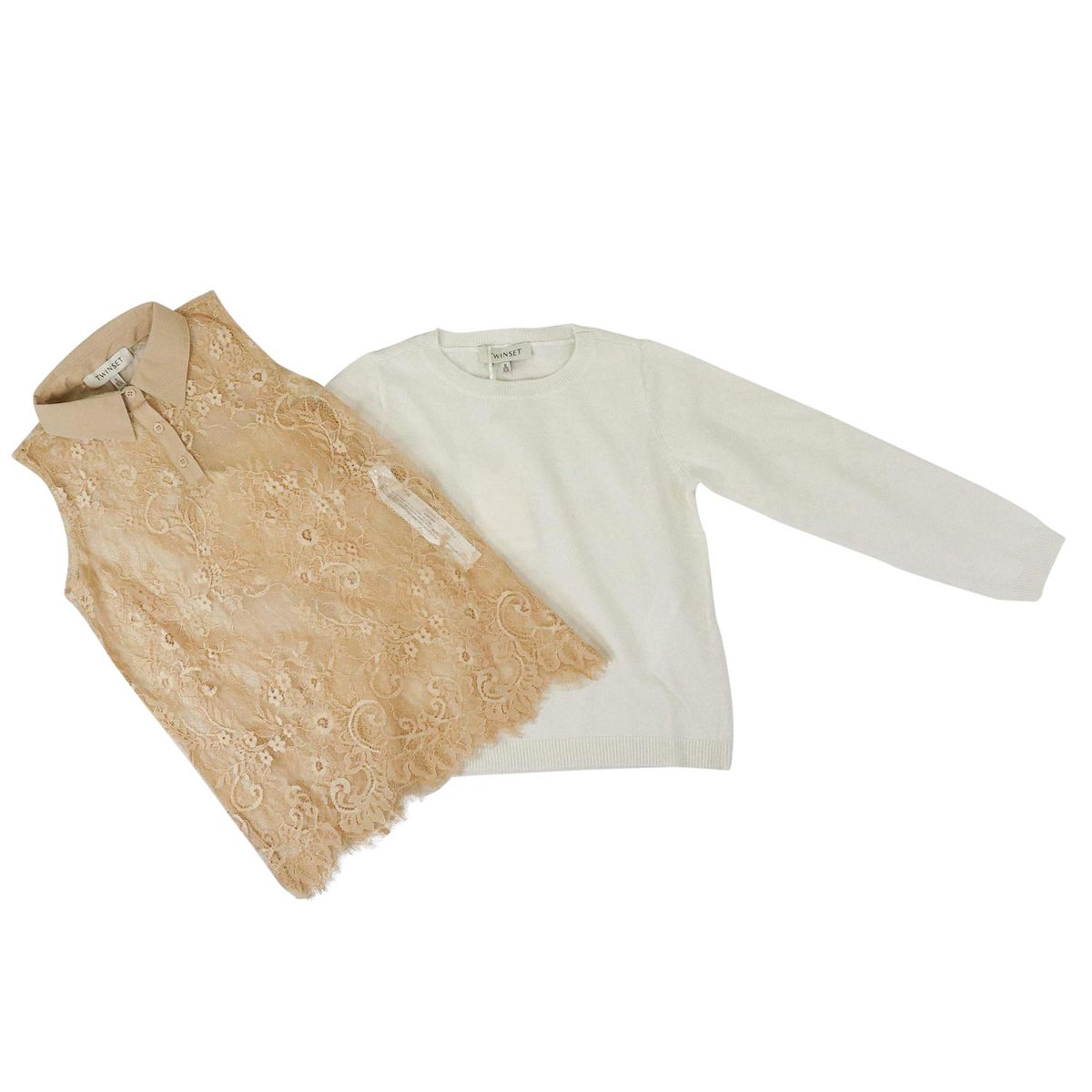 Crew-neck sweater in cashmere blend with lace top Beige Twin-Set
