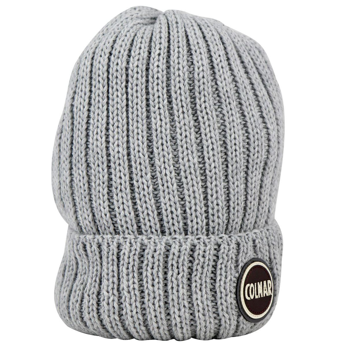 Ribbed wool blend hat with turn-up and logo Light grey Colmar