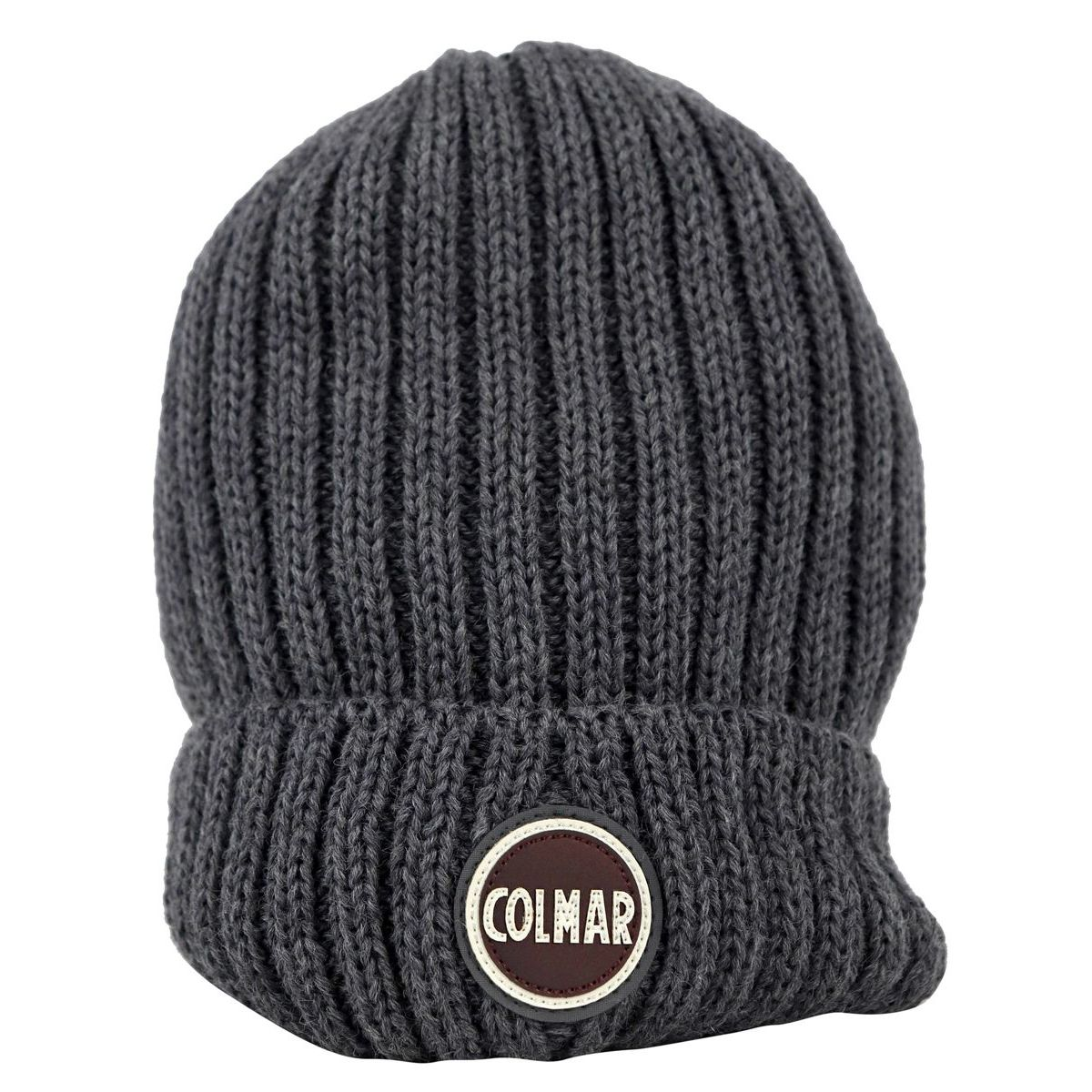 Ribbed wool blend hat with turn-up and logo Grey Colmar