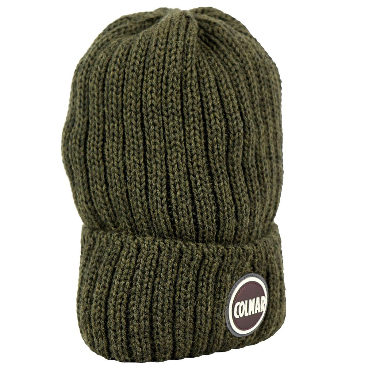 Ribbed wool blend hat with turn-up and logo Kaki Colmar