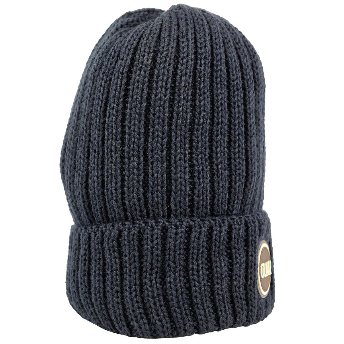 Ribbed wool blend hat with turn-up and logo Navy Colmar
