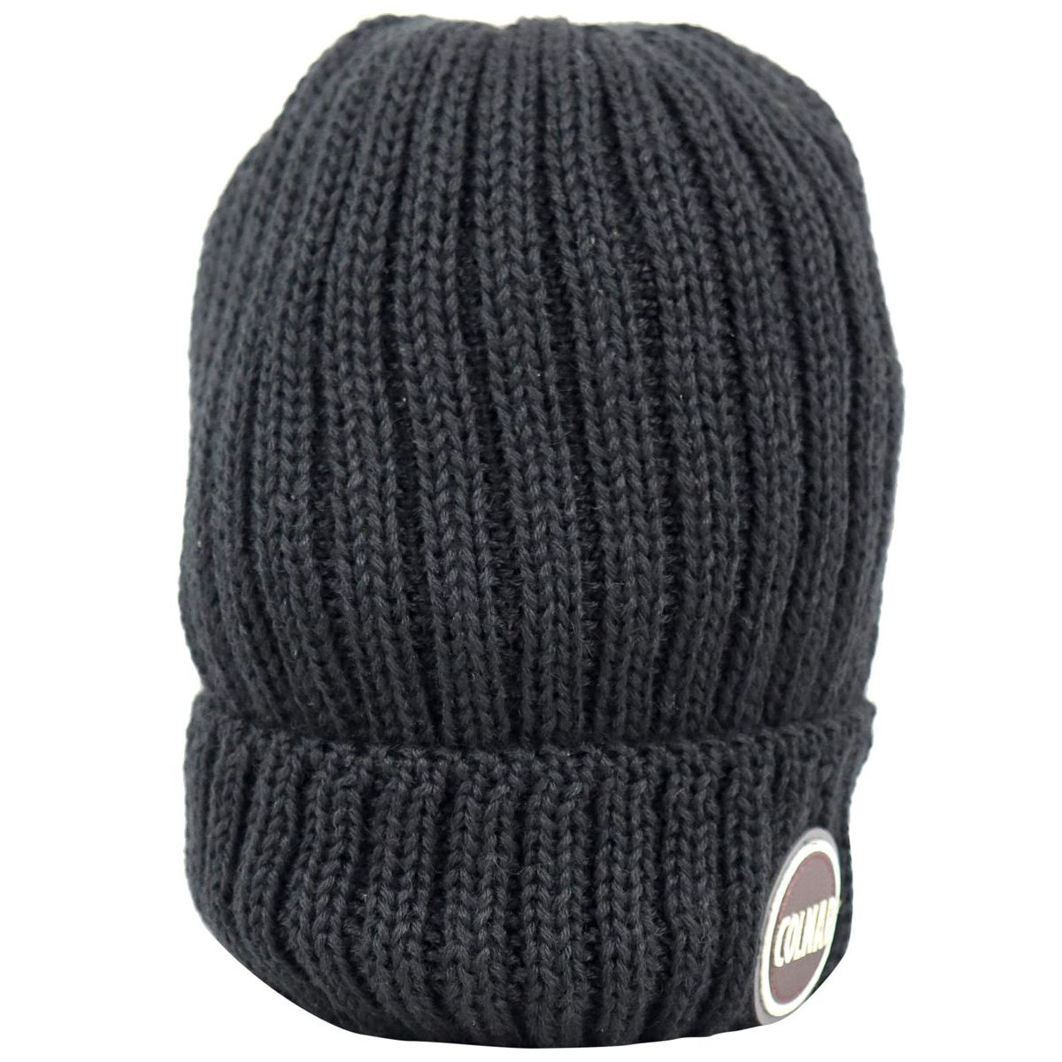 Ribbed wool blend hat with turn-up and logo Black Colmar
