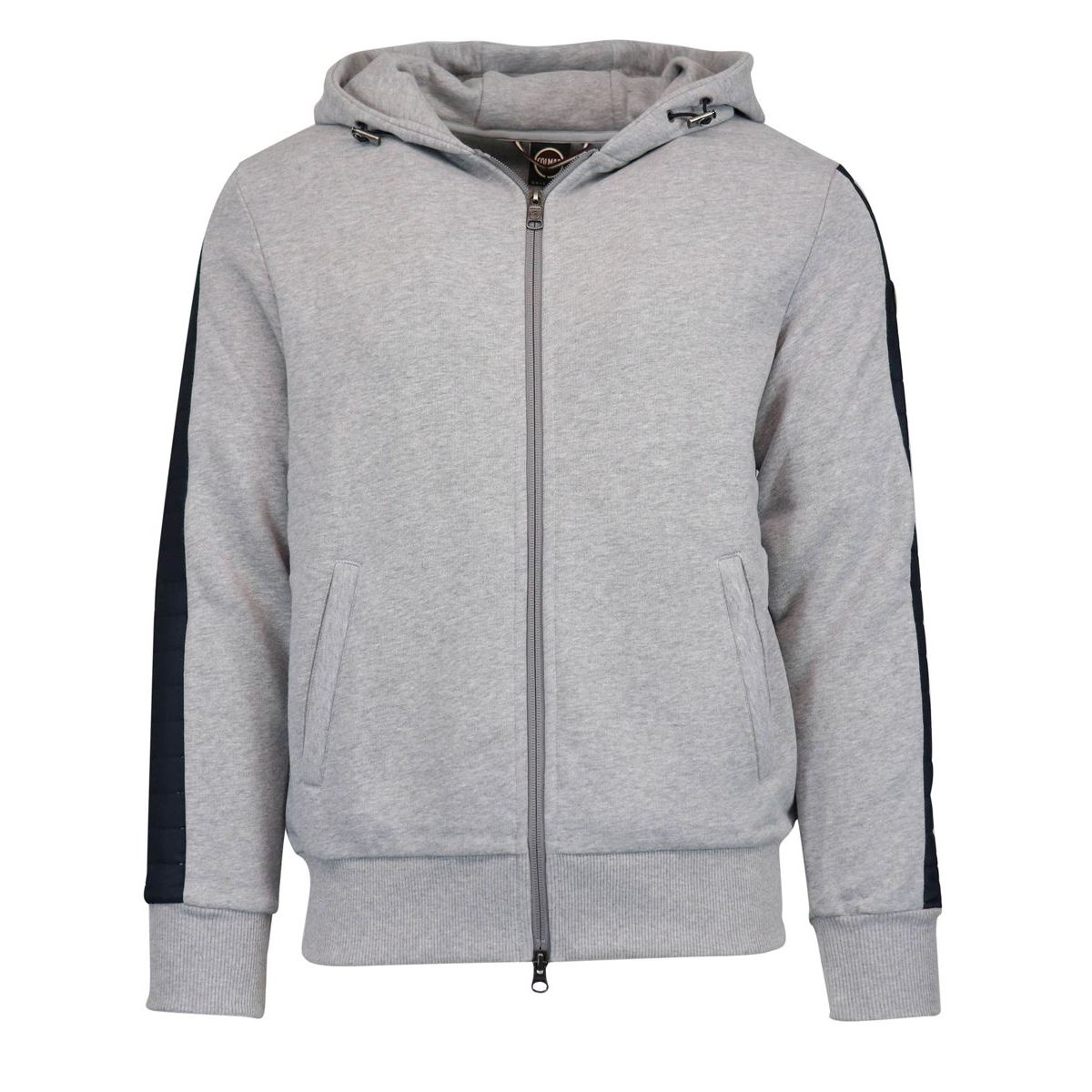 Sweatshirt with zip and hood with down effect inserts Grey Colmar