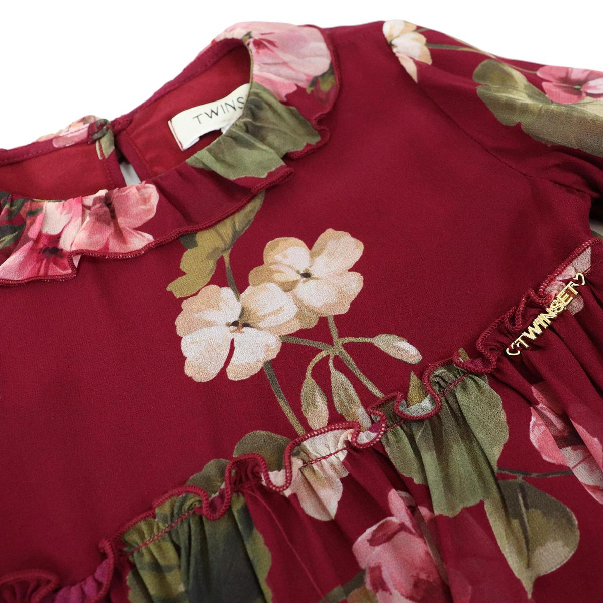 Georgette dress with flower print and flounces inserts Bordeaux Twin-Set
