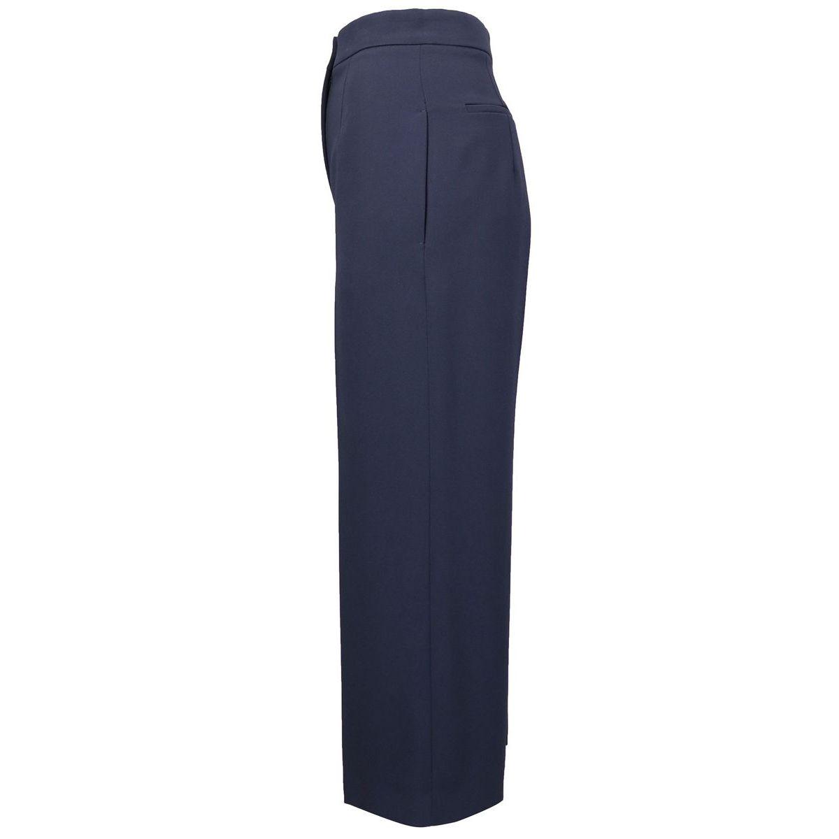 Pantalon large en crêpe avec plis Bleu Max Mara