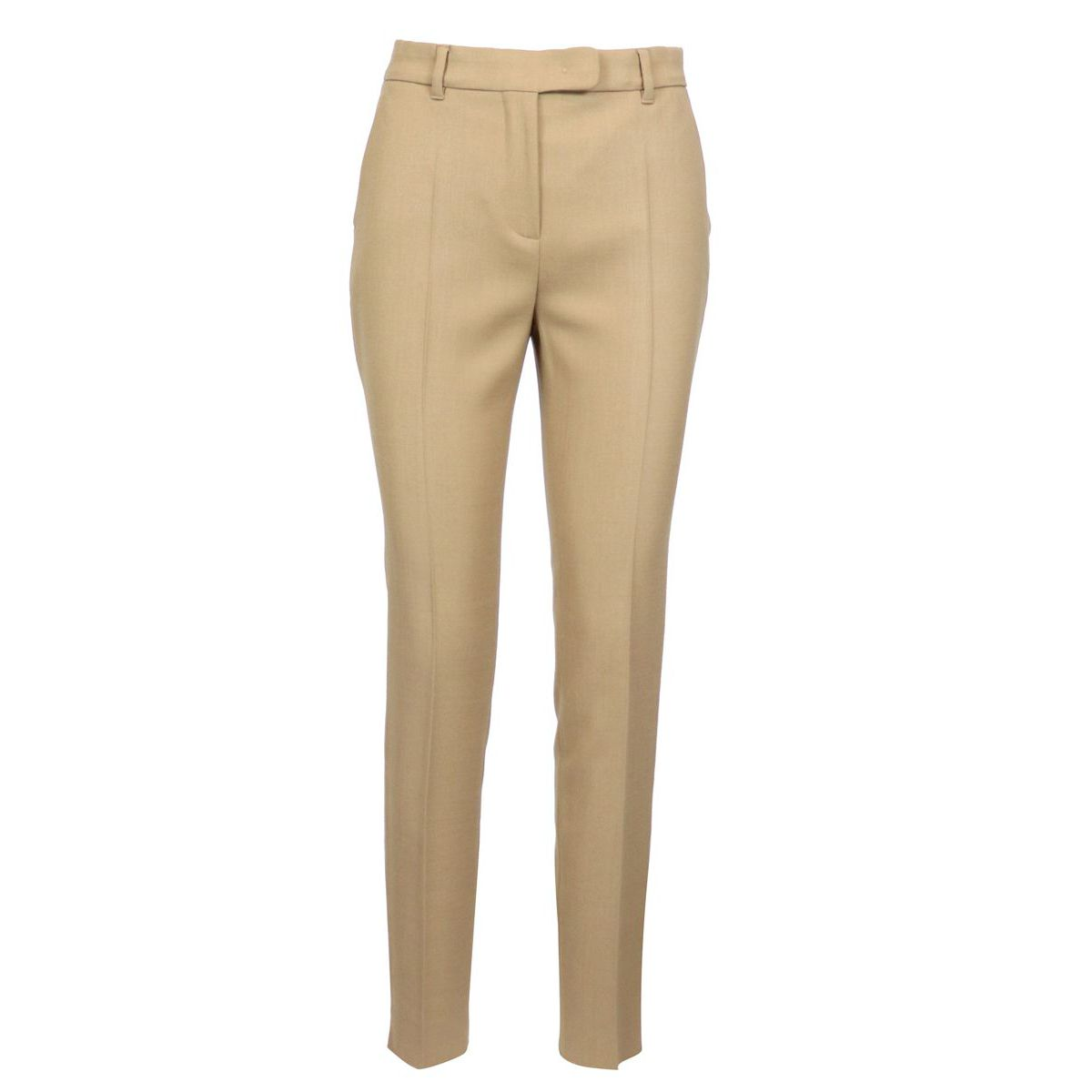 Cigarette trousers in stretch virgin wool with pressed fold Camel Max Mara