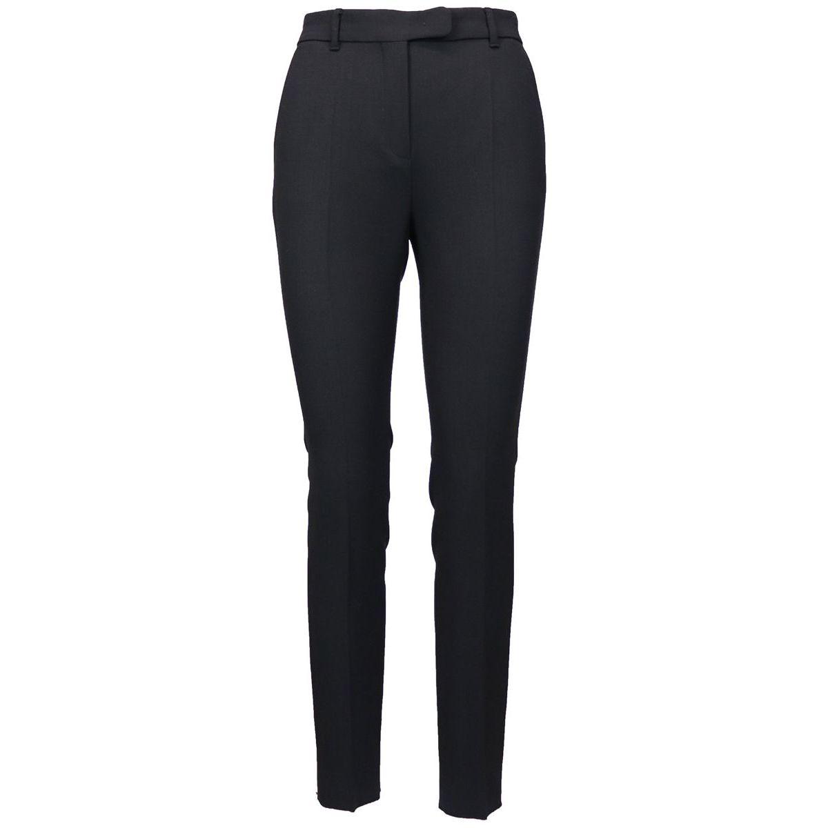 Pantalon cigarette en laine vierge stretch à pli pressé Noir Max Mara
