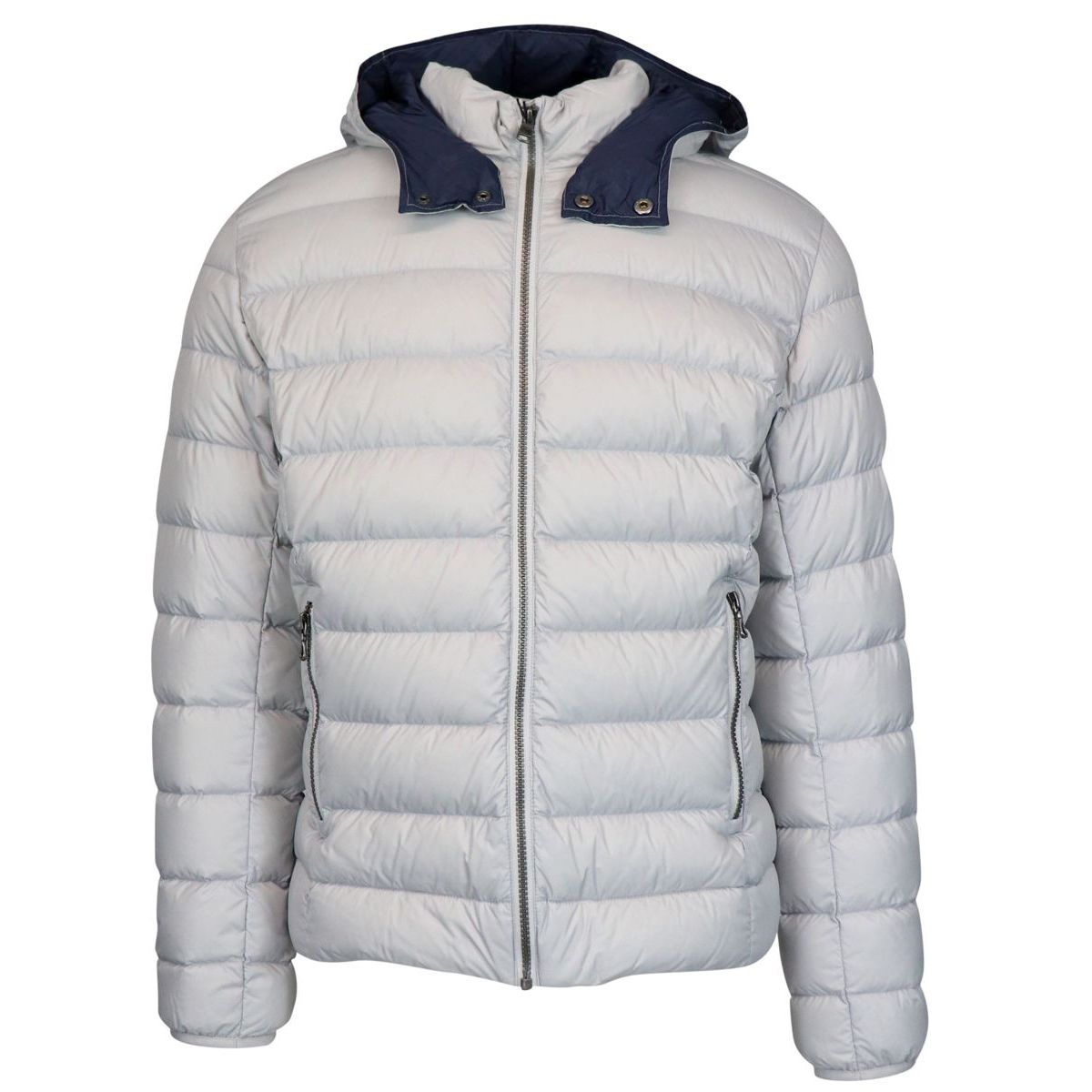 Semi-gloss nylon down jacket with removable hood Ice Colmar