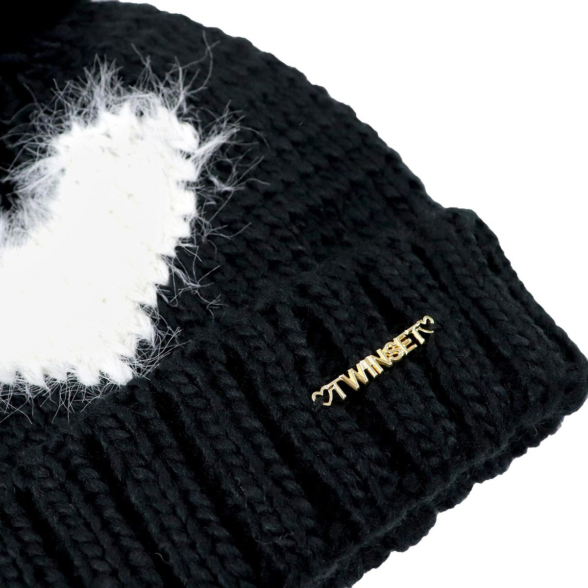 Knitted beanie with heart and pon pon Black / b.co Twin-Set