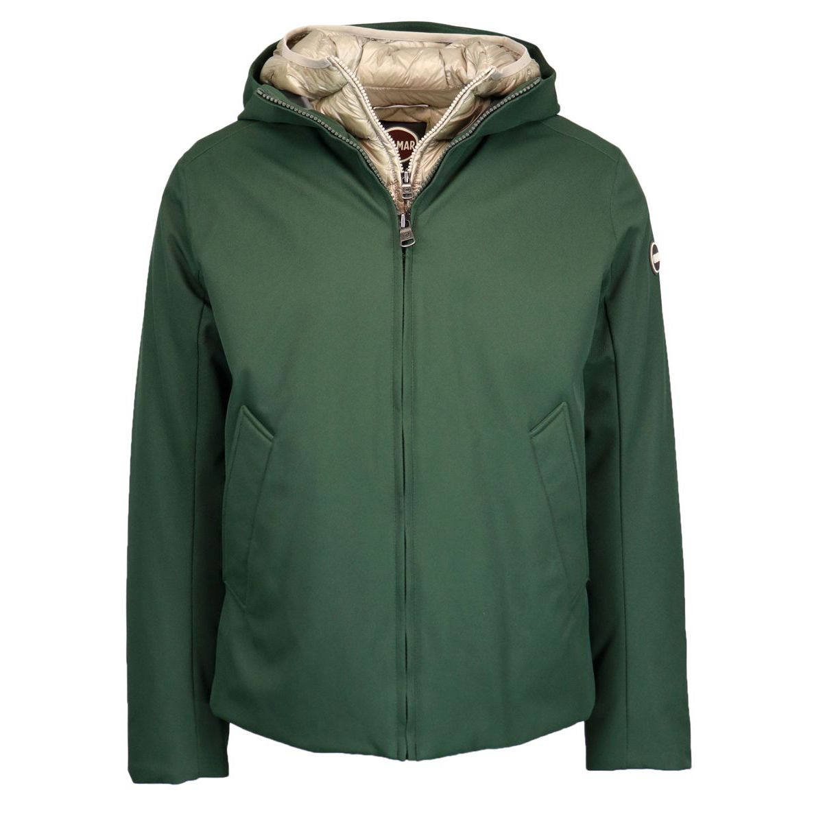 Water-repellent wool-effect down jacket with double closure and hood Green Colmar