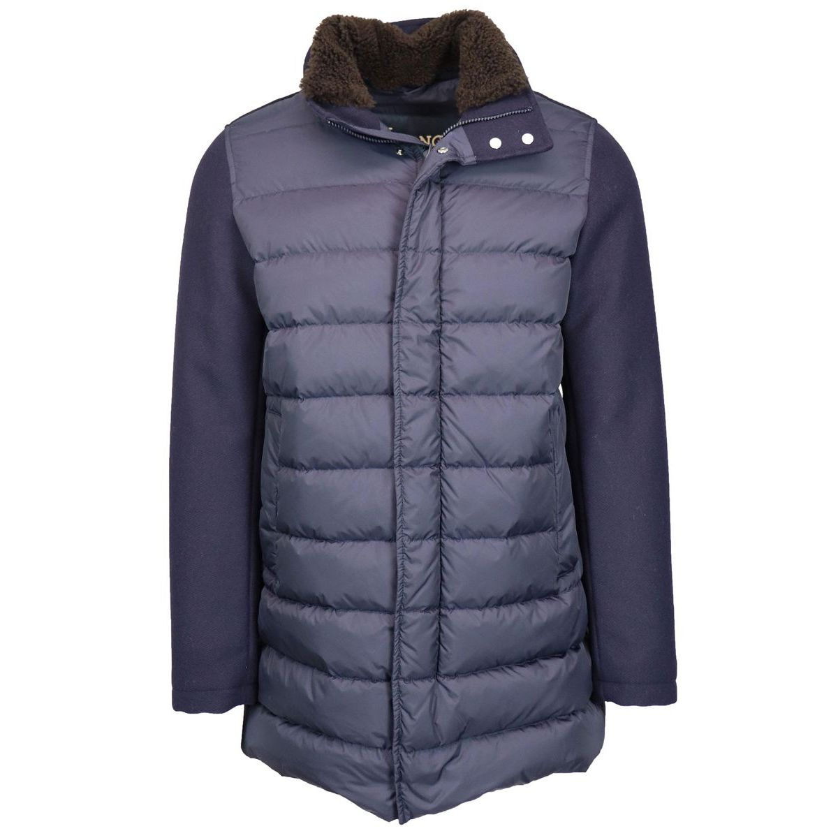 Bi-material down jacket with cloth sleeves Navy Herno