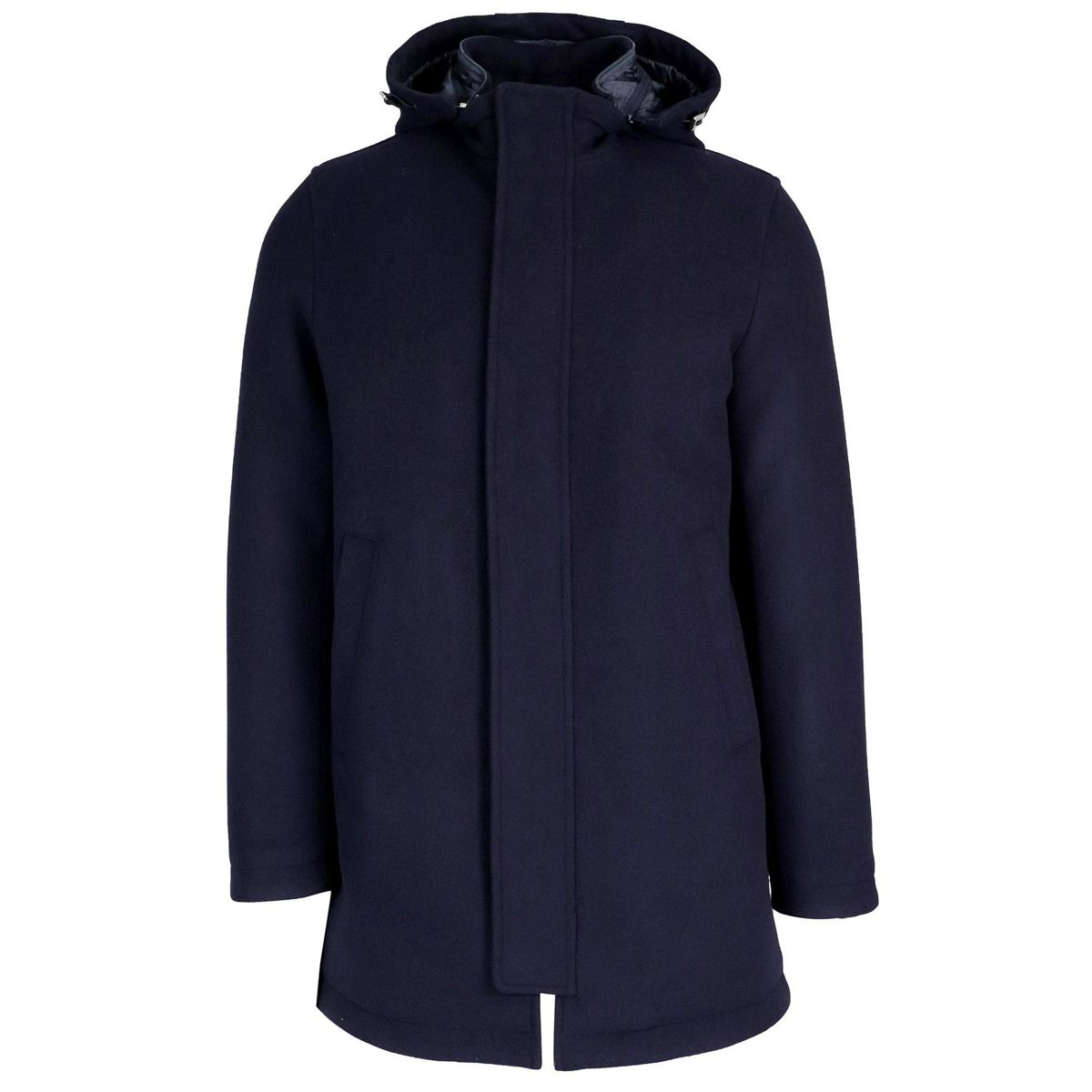 Long wool blend jacket with hood Blue Herno