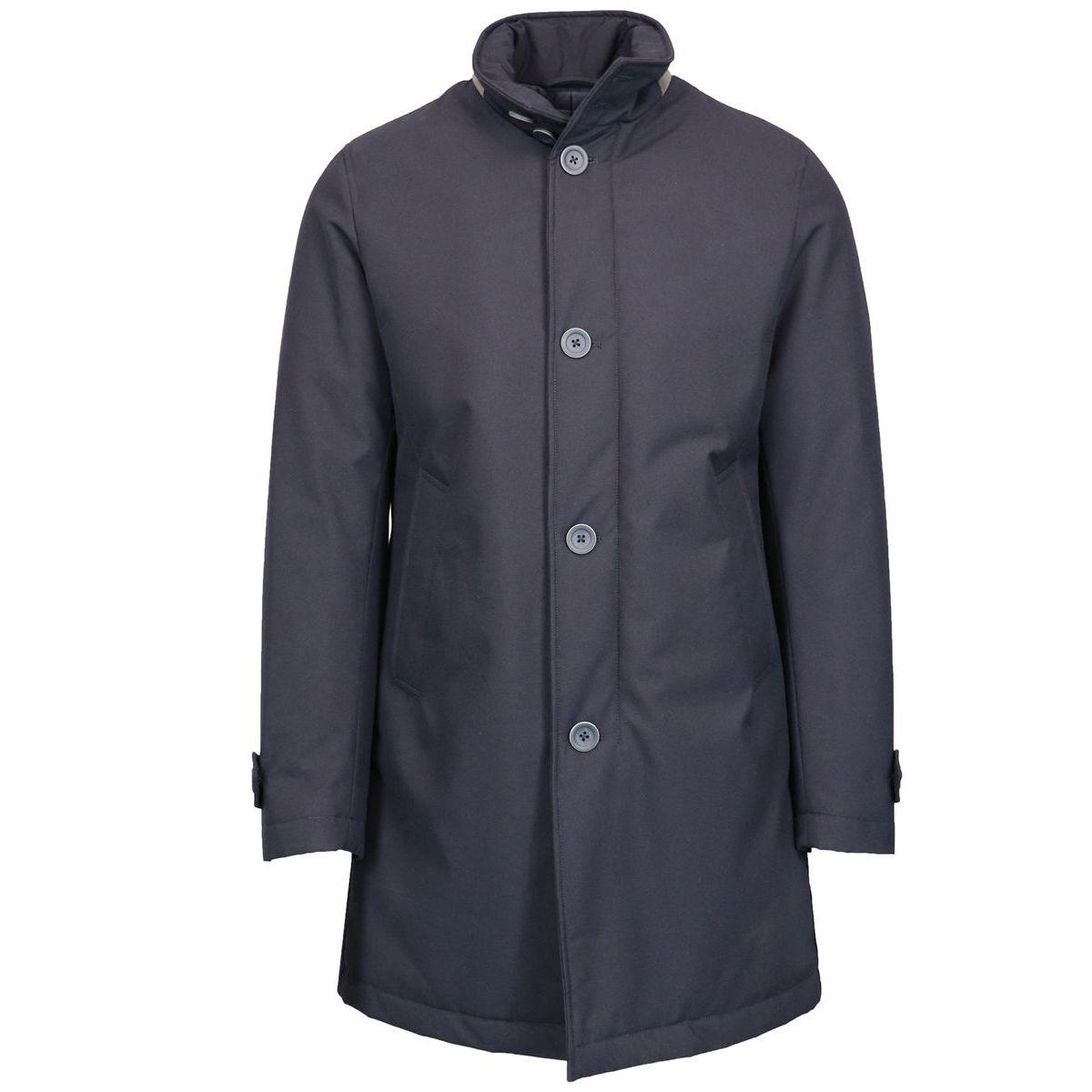 Waterproof collar standing with alcantara detail Navy Herno